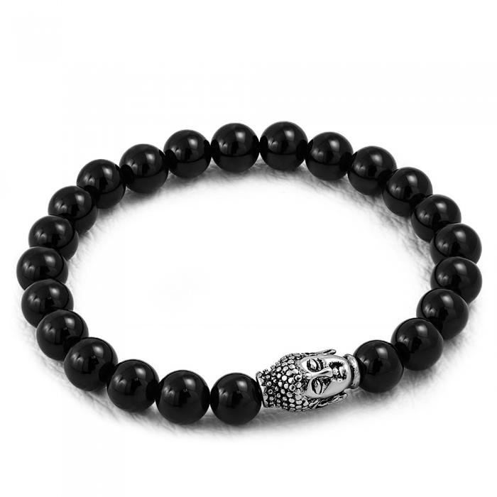 Bratara elastica cu agate negre si charm din inox cu Buddha 0