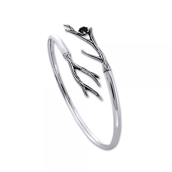 Bratara eleganta din argint 925 cu crengute si o floare - Be Nature [0]