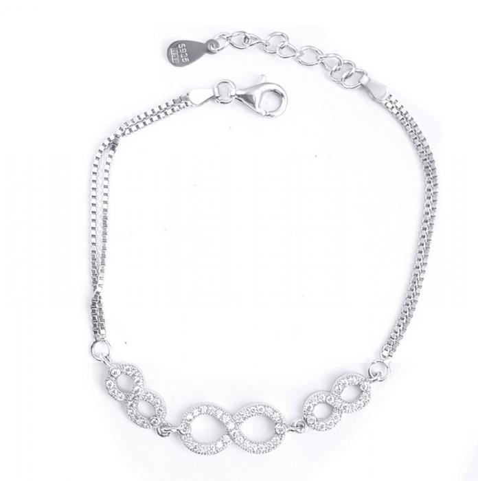 Bratara argint 925 rodiat cu simbolul infinit si zirconii - Infinite You BRA0753 0