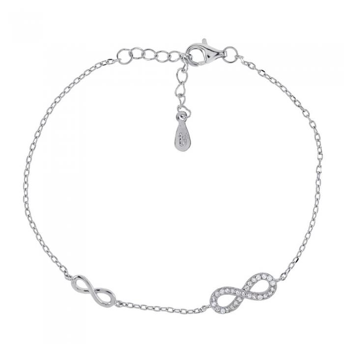Bratara eleganta din argint 925 rodiat cu infinit si zirconii BSX0266 0