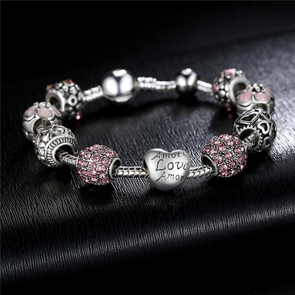 Bratara fantezie BeSpecial BSTF0008 placata cu argint, cu talismane roz 4