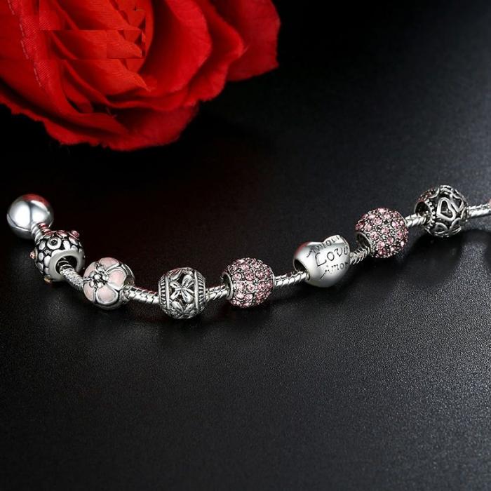 Bratara fantezie BeSpecial BSTF0008 placata cu argint, cu talismane roz 2
