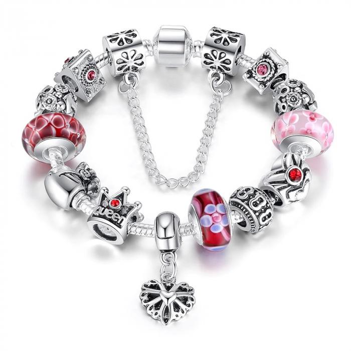 Bratara fantezie BeSpecial BSTF0005 placata cu argint, cu talismane rosii 0