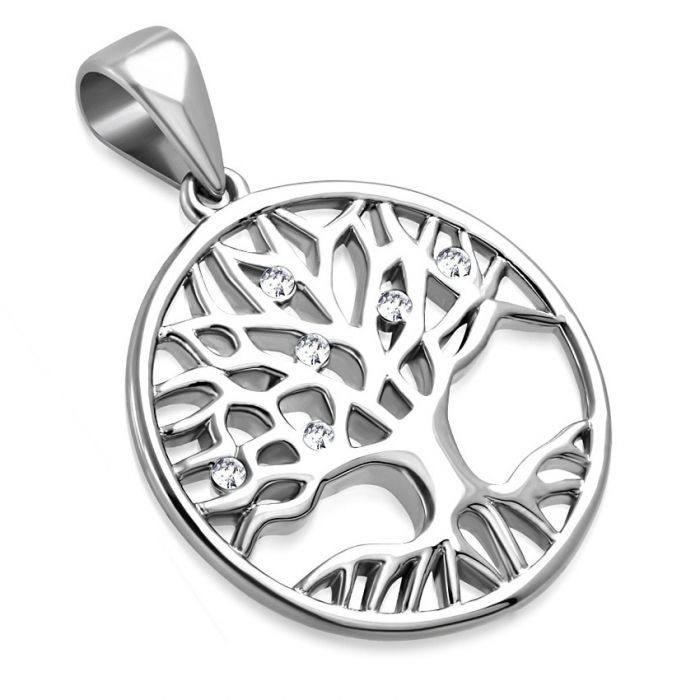 Pandantiv inox cu copacul vietii si zirconii albe PSL1512 1