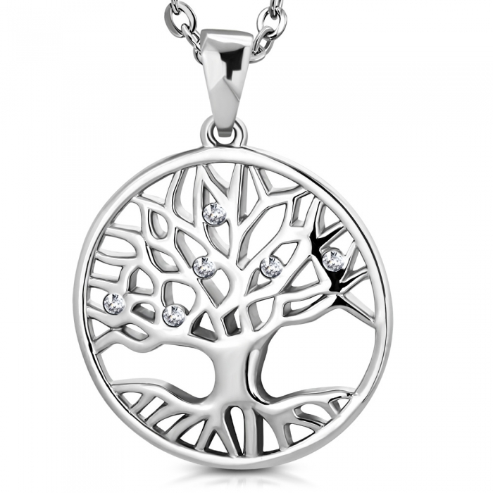 Pandantiv inox cu copacul vietii si zirconii albe PSL1512 0
