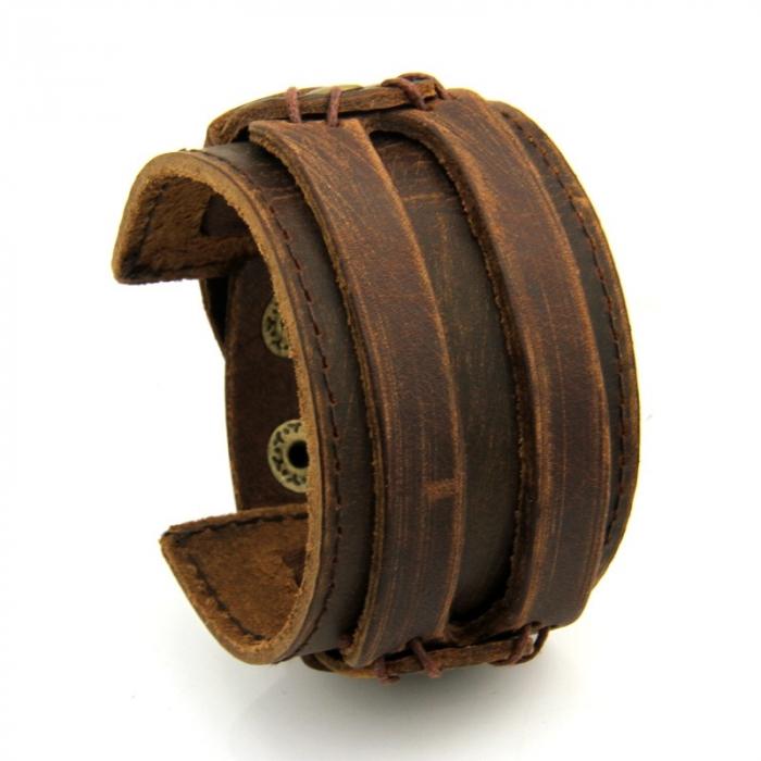 Bratara lata din piele naturala maro cu capse - BSTF0014 [1]