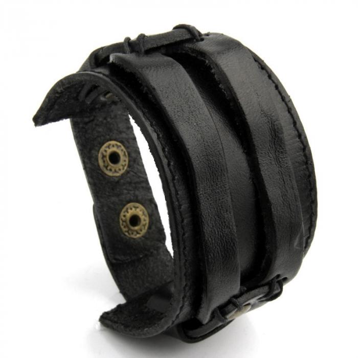 Bratara lata din piele naturala neagra cu capse - BSTF0015 [4]