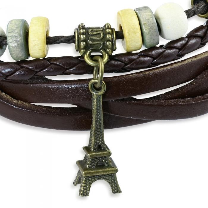 Bratara piele cu pandant Turnul Eiffel BSL2642 1