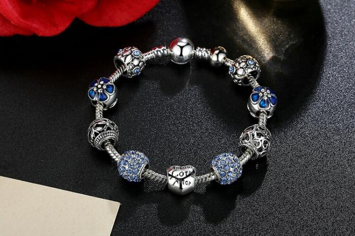 Bratara fantezie BeSpecial BSTF0002 placata cu argint, cu talismane albastre [1]