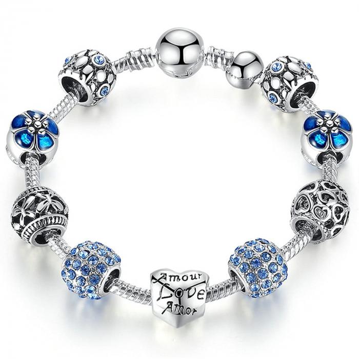 Bratara fantezie BeSpecial BSTF0002 placata cu argint, cu talismane albastre [0]