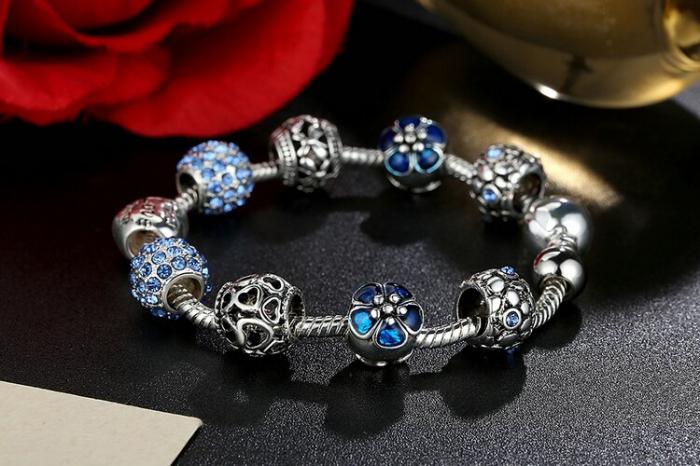 Bratara fantezie BeSpecial BSTF0002 placata cu argint, cu talismane albastre [2]