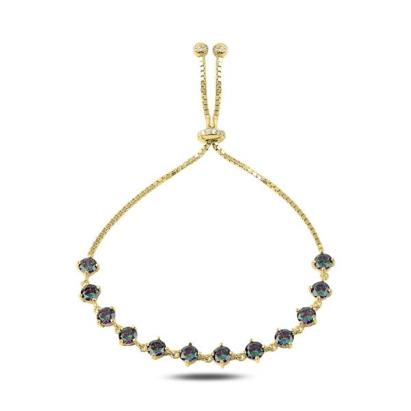 Bratara tenis din argint 925 aurit cu zirconii topaz mistic - Be Elegant BTU0106 0
