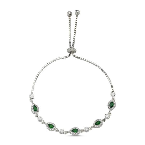 Bratara tenis din argint 925 rodiat cu zirconii verzi si albe - Be Elegant BTU0110 0