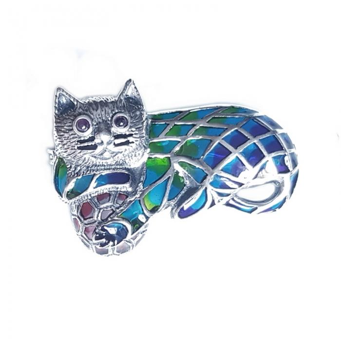 Brosa argint 925 cu pisica 0