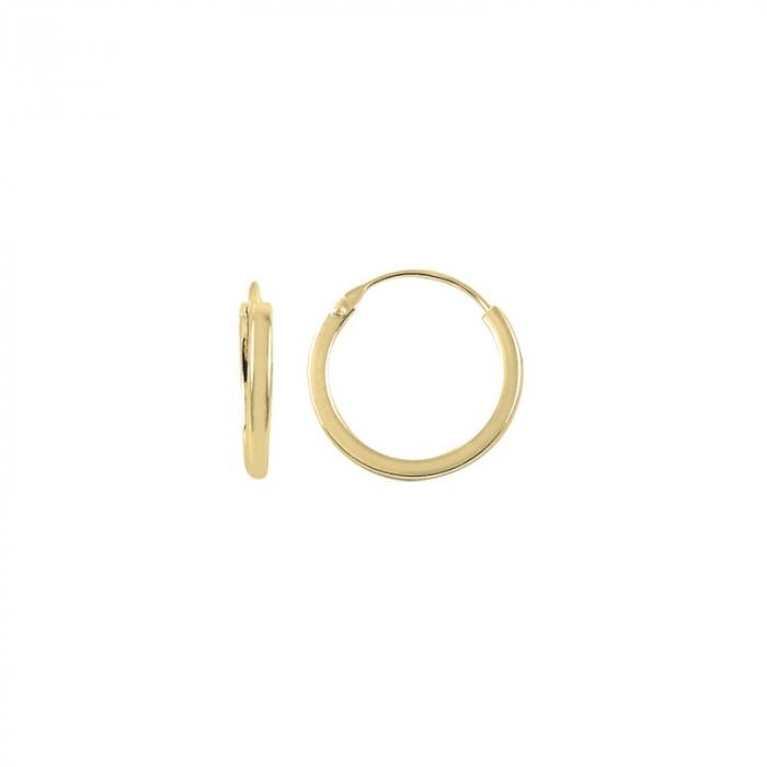 Cercei agint simpli cu cerc de 14 mm placati cu aur [0]