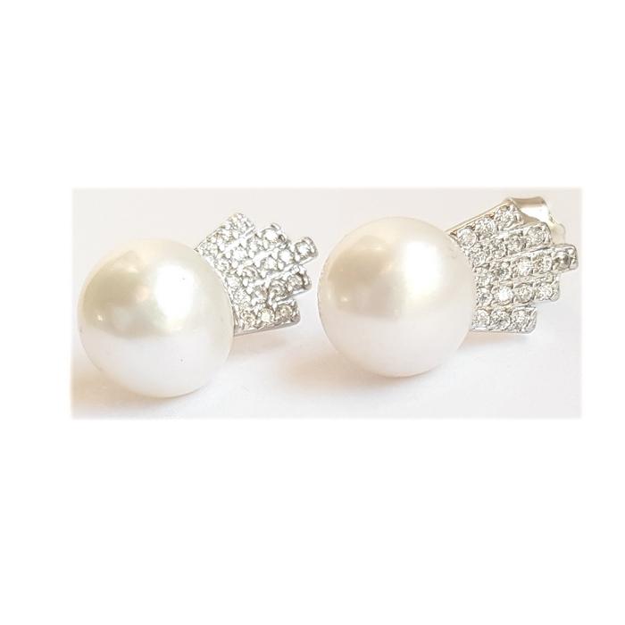 Cercei argint 925 coroane cu perle CER0698 0