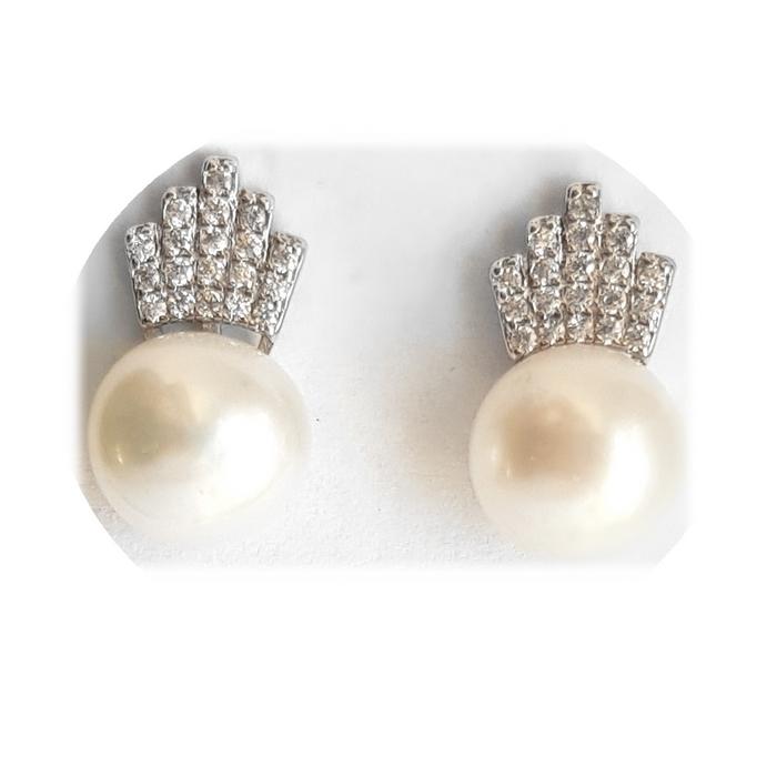 Cercei argint 925 coroane cu perle CER0698 1