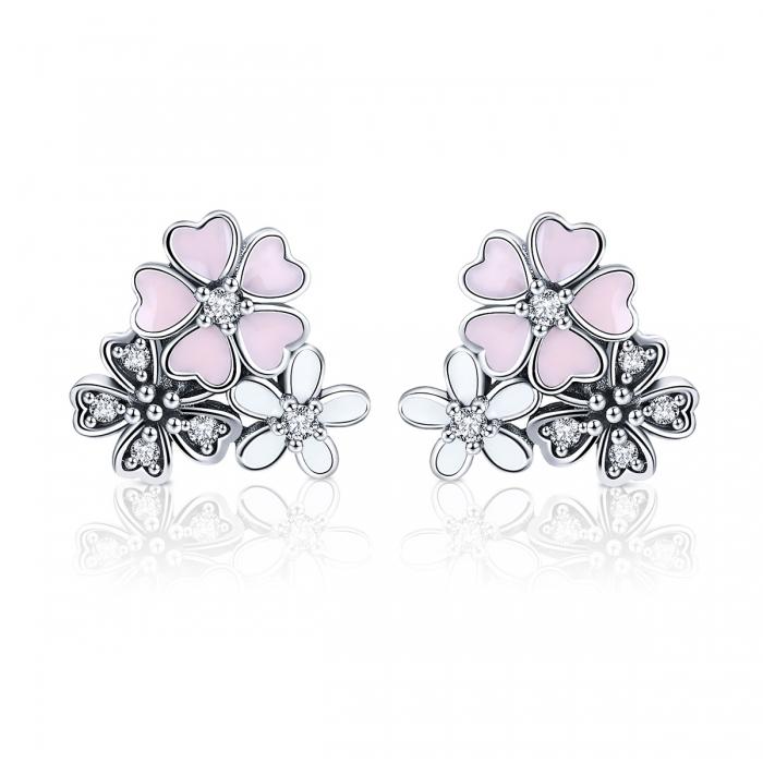 Cercei argint 925 cu floricele si zirconii albe - Be Nature EST0023 0
