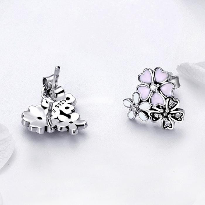 Cercei argint 925 cu floricele si zirconii albe - Be Nature EST0023 1