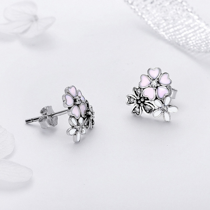 Cercei argint 925 cu floricele si zirconii albe - Be Nature EST0023 3