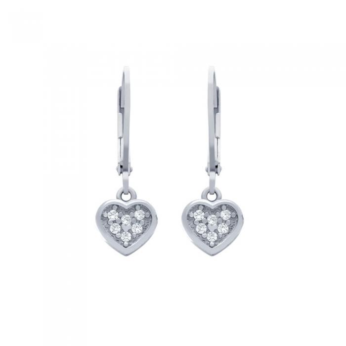 Cercei argint 925 cu inimioare si zirconii ESX0363 1