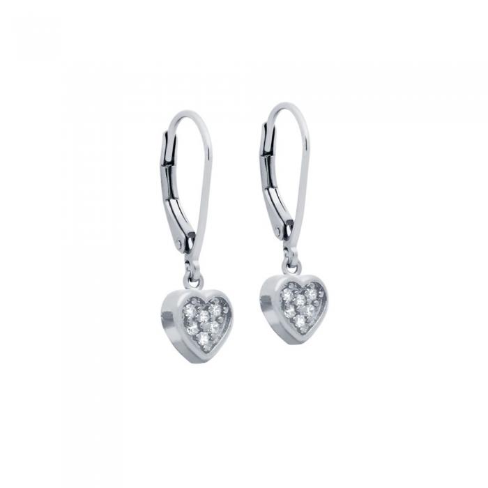 Cercei argint 925 cu inimioare si zirconii ESX0363 0