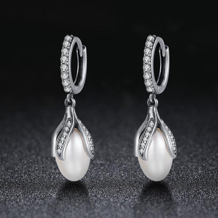 Cercei argint 925 cu perle fine si zirconii albe - Be Nature EST0013 1