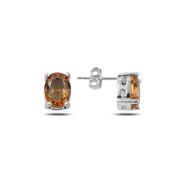 Cercei argint 925 cu pietre de zultanit ovale 7x9 mm placat cu rodiu - ETU0120 0