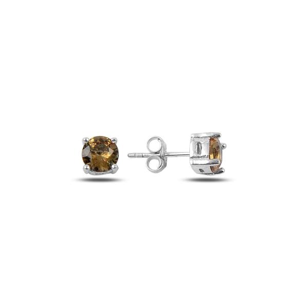 Cercei argint 925 cu pietre de zultanit rotunde de 6 mm placat cu rodiu - ETU0122 [0]