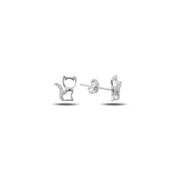 Cercei argint 925 cu pisicute, placati cu rodiu - ETU0124 0