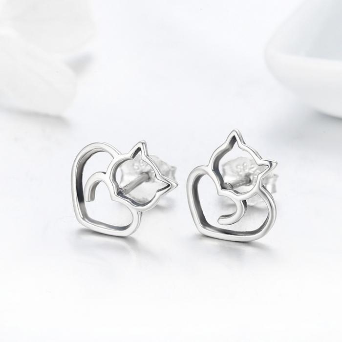 Cercei argint 925 cu pisicute si inimioare - Be Nature EST0014 3
