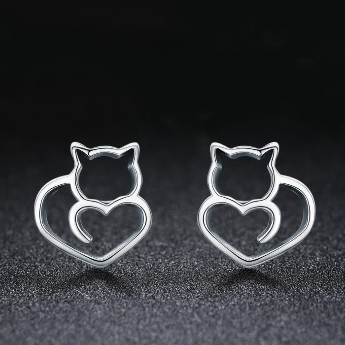Cercei argint 925 cu pisicute si inimioare - Be Nature EST0014 1