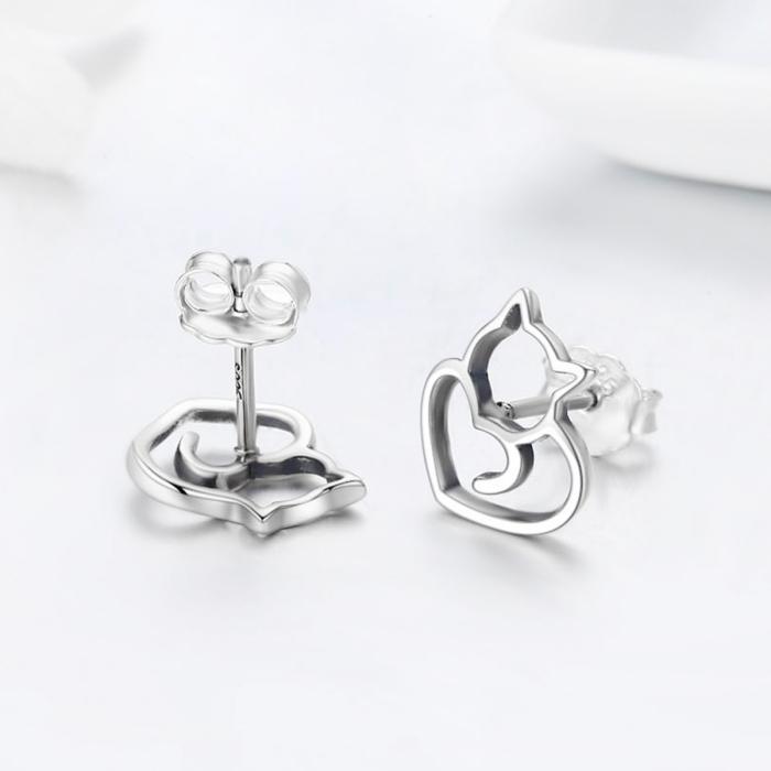 Cercei argint 925 cu pisicute si inimioare - Be Nature EST0014 4