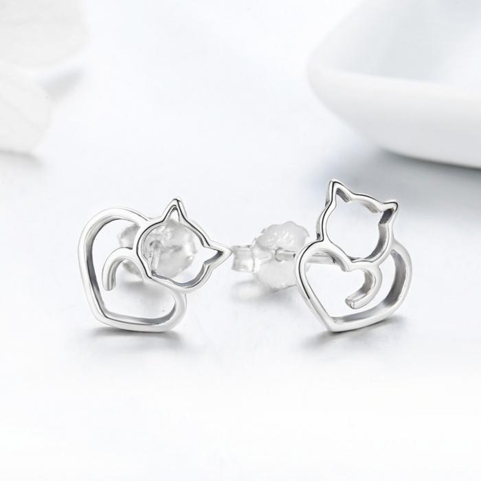 Cercei argint 925 cu pisicute si inimioare - Be Nature EST0014 2