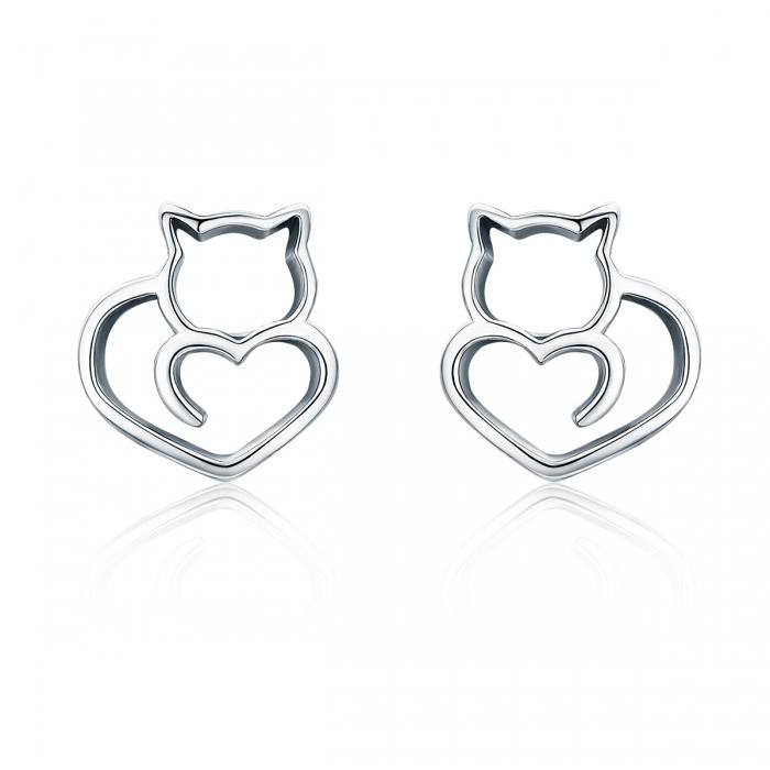 Cercei argint 925 cu pisicute si inimioare - Be Nature EST0014 0