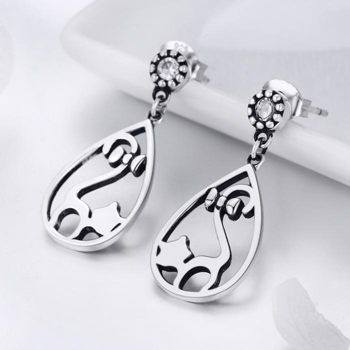 Cercei argint 925 cu pisicute si zirconii albe - Be Nature EST0021 1