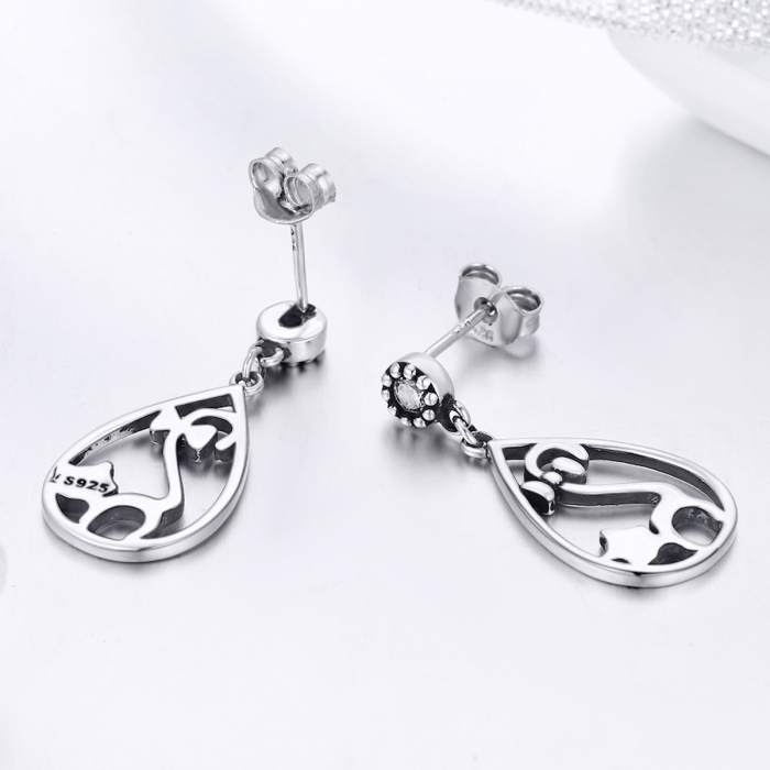 Cercei argint 925 cu pisicute si zirconii albe - Be Nature EST0021 3