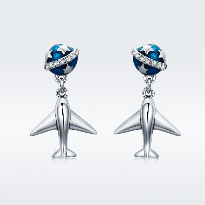 Cercei argint 925 cu planete, stelute, avioane si zirconii - Be Nature EST0020 2