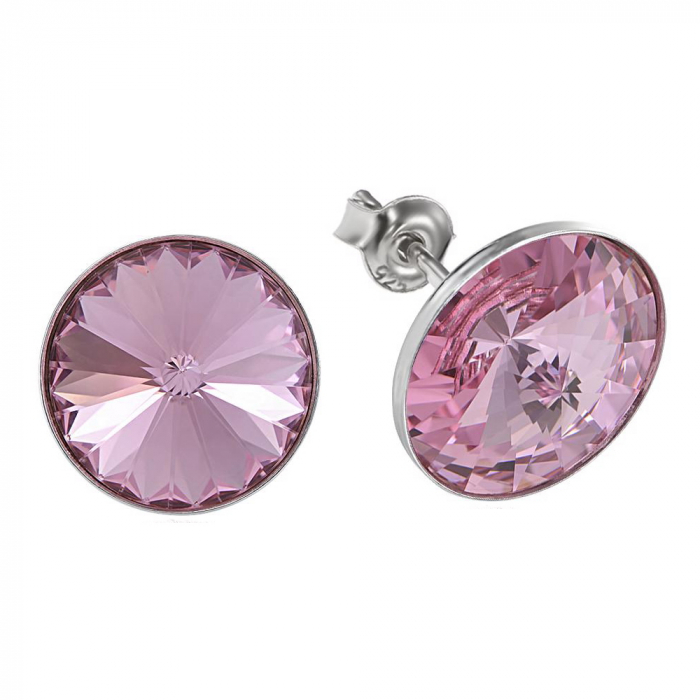 Cercei argint 925 cu swarovski elements 12 mm Light Rose 0