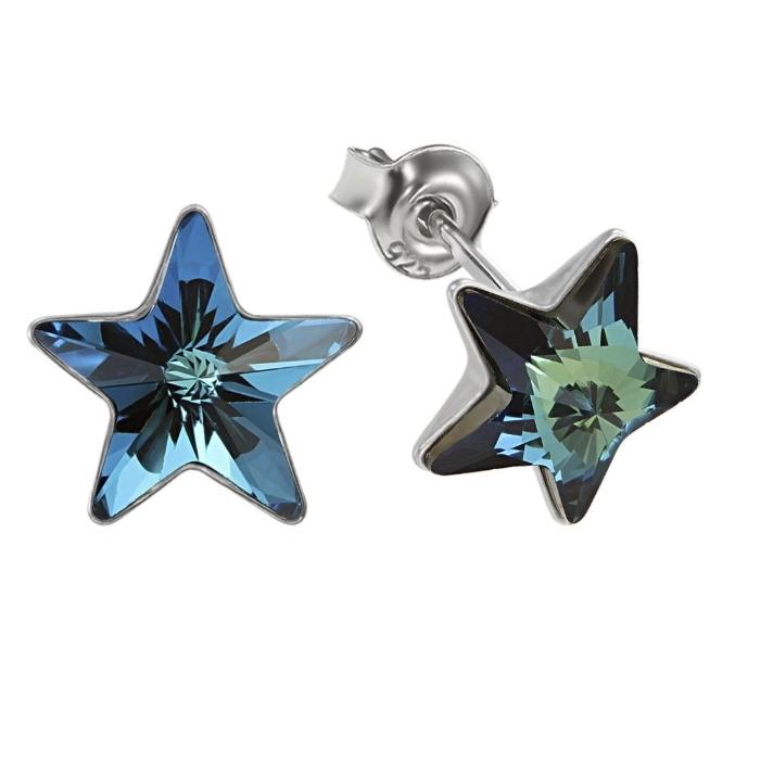 Cercei argint 925 cu swarovski elements 10 mm Bermuda Blue 0