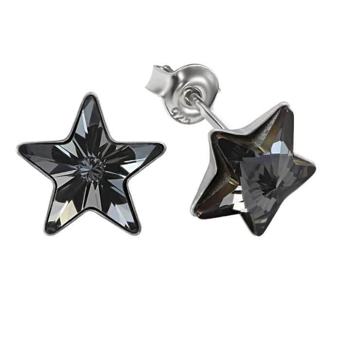 Cercei argint 925 cu swarovski elements 10 mm Silver Night 0