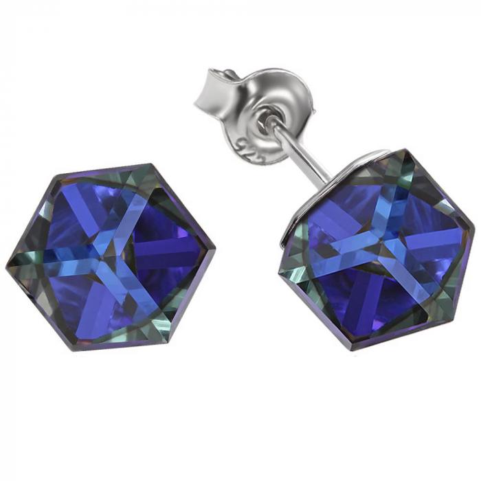 Cercei argint 925 cu swarovski elements Bermuda Blue 1