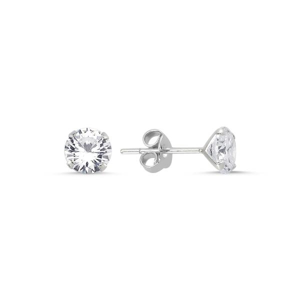 Cercei argint 925 cu zirconii albe rotunde 6 mm - ETU0108 0