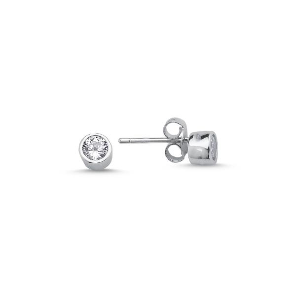 Cercei argint 925 cu zirconii albe rotunde de 4 mm placat cu rodiu - ETU0117 0