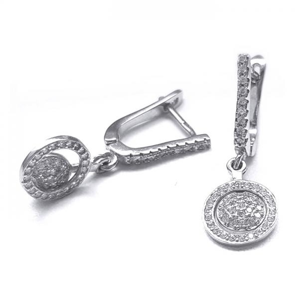 Cercei argint 925 rodiat cu zirconii 0