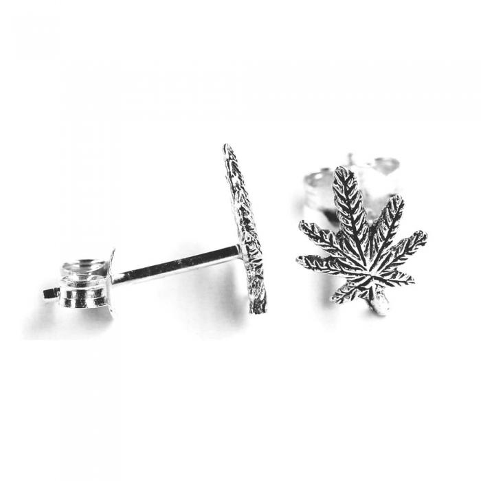 Cercei argint 925 frunza marijuana cu aspect vintage CER0706 0