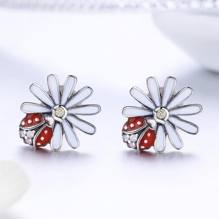 Cercei argint 925 gargarite cu floricele si zirconii - Be Lucky EST0022 1