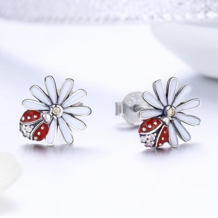 Cercei argint 925 gargarite cu floricele si zirconii - Be Lucky EST0022 2