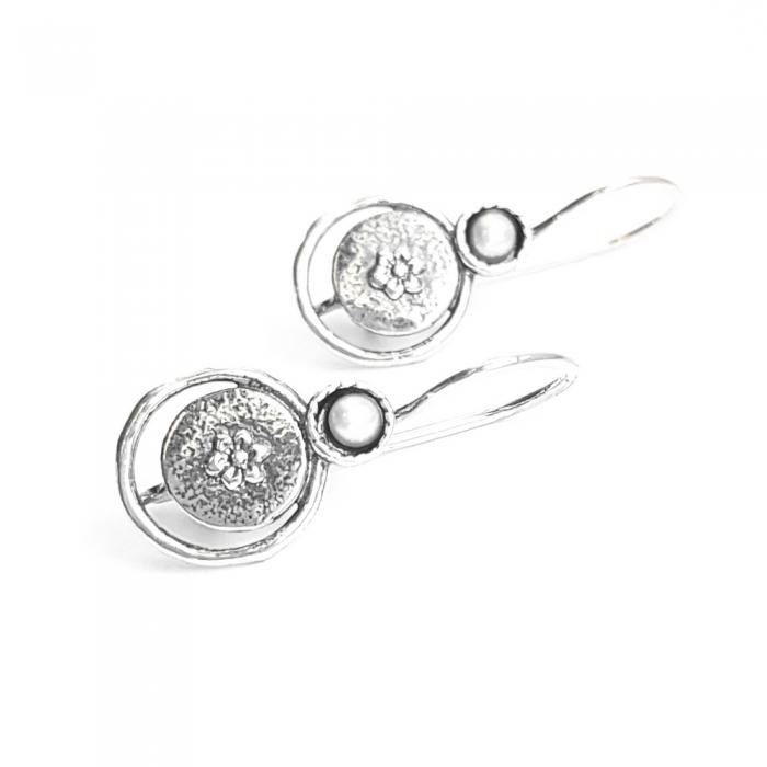 Cercei argint 925 Israel cu perle si floricele - Be Nature EPO0037 0