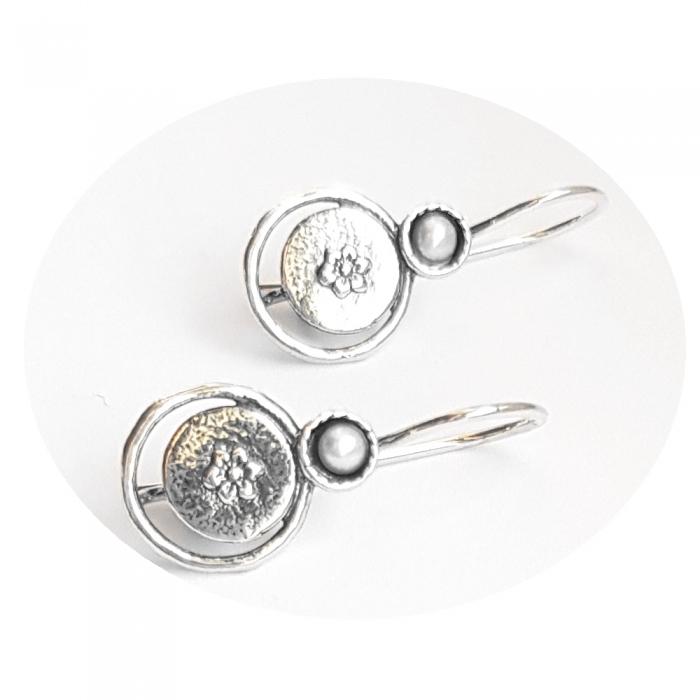 Cercei argint 925 Israel cu perle si floricele - Be Nature EPO0037 1